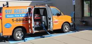 Mold Removal Van At Exterior Of Job Location